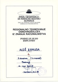 1996 1 mesto 7 razred regijsko