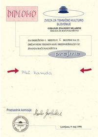 1998 2 mesto skupina I znanje racunalnistva