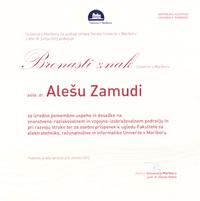 2013 bronasti znak UM Ales Zamuda