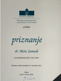 2014 Zamuda FERI research award