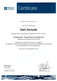 2016 British Council academic teaching excellence