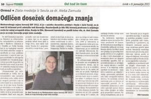 Štajerski Tednik 8/1/2013 dr Ales Zamuda SIIF 2012 gold